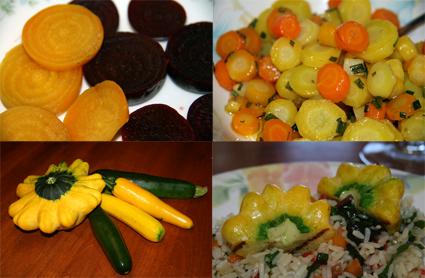 Yellow carrots, zucchini